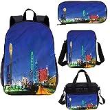 Juego de mochila para adolescentes de 17 pulgadas, panorámica Dallas City School Bag Set para trabajo, escuela, viajes, picnic