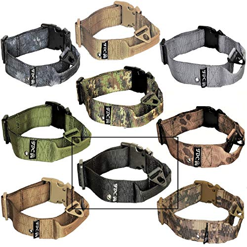 FDC Dog Tactical Collars with Handle Heavy Duty Training Military Army Width 1.5in Plastic Buckle TAG Hole Medium Large M, L, XL, XXL (L: Neck 14' - 16', Black)