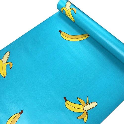 HOYOYO 17.8 x 78 Inches Self-Adhesive Shelf Liner, Self Adhesive Dresser Drawer Paper Wall Sticket Home Decoration,Blue Banana for Kids