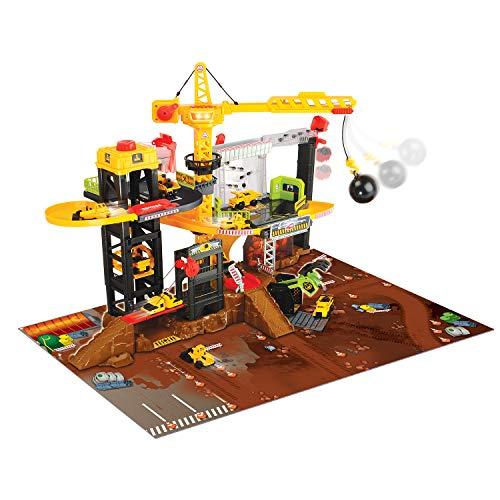 Dickie Toys Baustellen Spielset mit Spiralbahn und 4 Spielzeugautos, mit Kran, Abrisskugel, man. Autolift, drehenden Plattformen und Förderband, inkl. Spielunterlage, Licht & Sound, inkl. Batterien