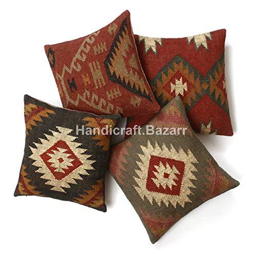 Handicraft Bazarr 4 Set Combo Wool Jute Cushion Cover handwoven Kilim Jute Cushion Cover 18X18 Vintage Rug Throw Pillow Cases