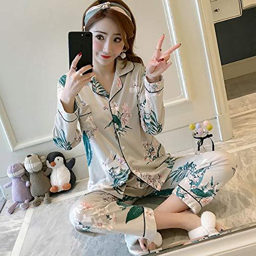 CIDCIJN Pijama para Mujer,Moda Manga Larga Algodón Pijamas Sets para Mujeres Primavera Otoño Impresión Pijama Pijama Pijama Pijama Conjunto Joven Chica Pijama Conjuntos Mujeres Noche, Azul Oscuro, XL