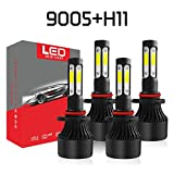 A-Partrix 9005+H11 LED Headlight Bulb 4 side 6000K 36W 8000 Lumens Xenon White Extremely Bright All-in-One Conversion Kit-4 Packs (9005+H11)