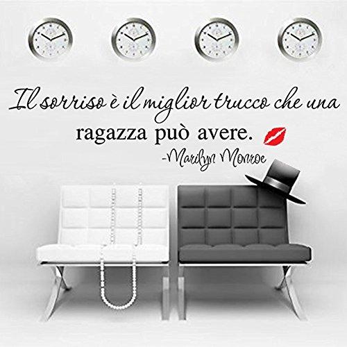 Adesivo Murale,Frase in Italiano, Wall Stickers,Marilyn Monroe (LARGE 100 CM. X 55 CM.)