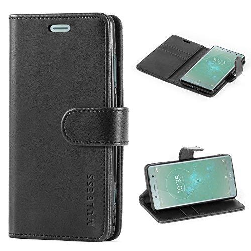 Mulbess Handyhülle für Sony Xperia XZ2 Compact Hülle Leder, Sony Xperia XZ2 Compact Handytasche, Vintage Flip Schutzhülle für Sony Xperia XZ2 Compact Hülle, Schwarz