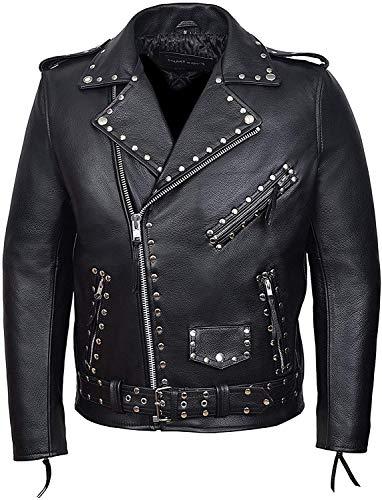 Iconic Giacca in pelle da moto, stile Brando, giacca in pelle da motociclista Rock Star, giacca in pelle classica Rider Brando in vera pelle con borchie XXXXL