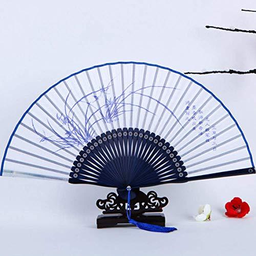 Zixin Damen Fan chinesischen Stil blauen und weißen Porzellan Klassische Seidendamast Folding Fan Bühnen Performace Craft Fan (Color : Orchid)