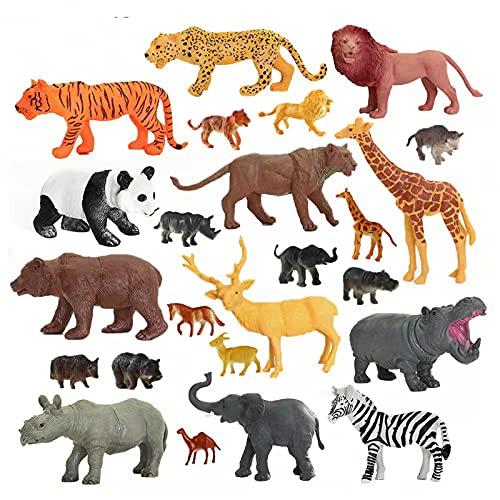 Juego de 24 figuras de animales, incluye 12 piezas grandes y 12 pequeños animales de la selva, animales de granja, animales del zoológico salvaje figuras para educación, regalos para niños y niñas