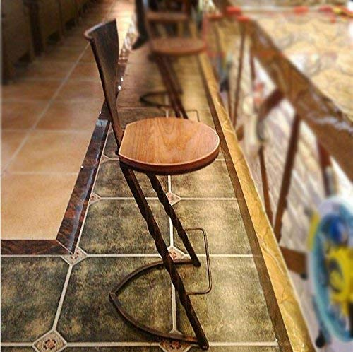 QTQZDD landelijke stijl, creatieve retro houten bar stoelen / barkruk, hoogte: 103 cm, kruk diameter: 36 cm (kleur: zwart) 2 2
