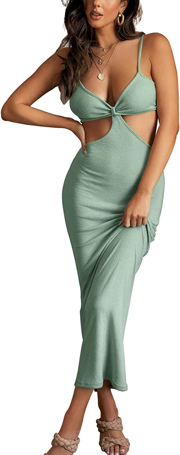 DREAM SLIM-Women's Sexy Spaghetti Straps Knitted Maxi Dresses Cut Out Backless Dress Bodycon Halter Neck Club Party Dress