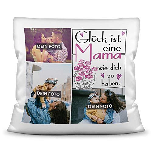Print Royal Foto-Kissen inkl. Füllung zum Selbstgestalten - für Mama - mit eigener Collage und Spruch - Bestes Fotogeschenk/Geburtstagsgeschenk - Kissen Polyester - Weiß