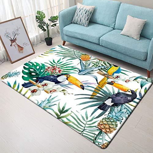 NGMZ Ananas Tropical Perroquet 3D Tapis Chambre Chambre Tapis Imprimer Salon Anti-Slip Tapis La Chambre des Enfants Home Decor 40 * 60cm