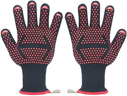 BBQ grillen handschoenen hittebestendige siliconen ovenwanten katoen, koken, grillen, bakken, 2 handschoenen, Red2