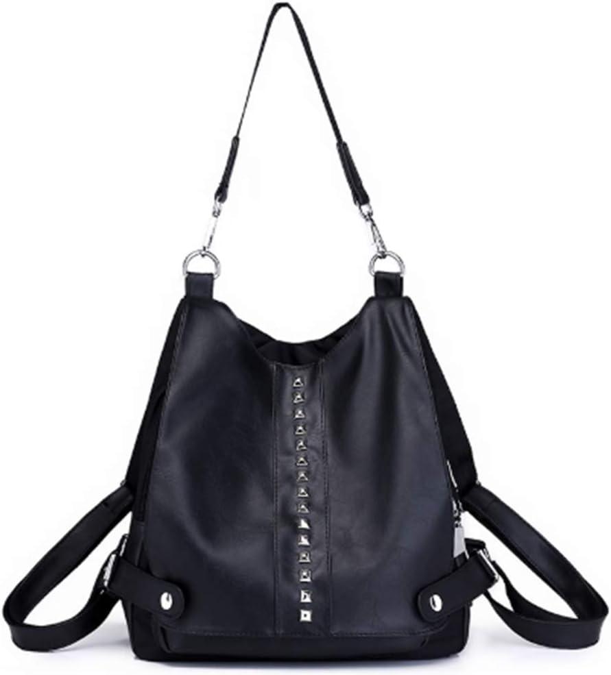 Women's Fashion Backpack Purse PU Leather Rivet Studded Daypack Shoulder Handbag for Ladies and Girl Crossbody Schoolbag (Black)