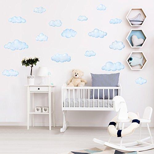 DECOWALL DW-1702 Nuvole Adesivi da Parete Decorazioni Parete Stickers Murali Soggiorno Asilo Nido Camera da Letto per Bambini