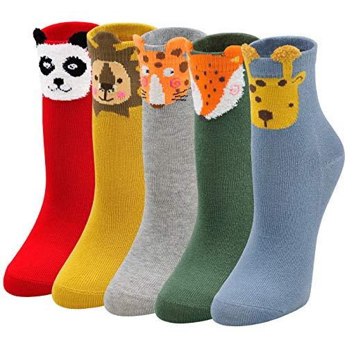 LOFIR Kinder Socken Mädchen Jungen Motiv Strümpfe aus Baumwolle Witzige Kindersocken Tier Muster Socken Bunte Lustige Mädchensocken Größe 31-34, 5 Paare