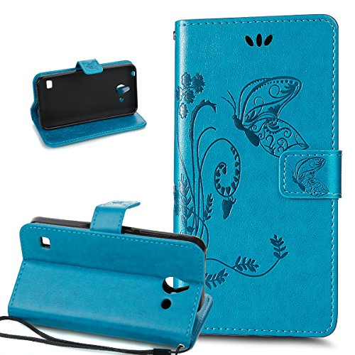 Kompatibel mit Huawei Ascend Y550 Hülle Lederhülle Handyhülle,Prägung Groß Schmetterling Blumen PU Lederhülle Flip Hülle Cover Ständer Wallet Hülle Schutzhülle für Huawei Ascend Y550,Blau