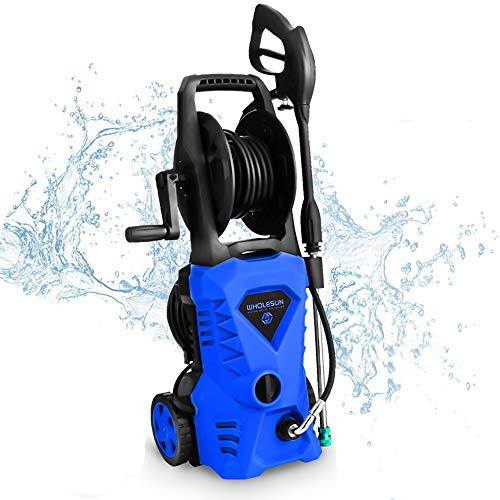 Review Of WHOLESUN 3000PSI Electric Pressure Washer 1.8GPM 1600W Power Washer with Hose Reel and Bru...