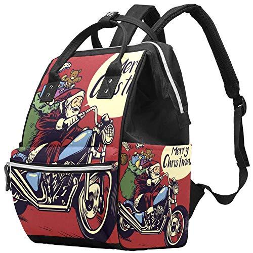 TIZORAX Santa Claus Riding Motor Livraison Cadeaux Grande capacité Nappy Backpack Baby Diaper Bag Rucksack Travel Bag for Mums Dads