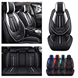 Luxury Front & Rear Seat Covers for Mitsubishi Lancer Car Seat Cover PU Leather Wear Resistant Waterproof Sporty Black×White