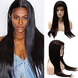Elailite Parrucca Donna Capelli Veri Lace Front Wig Lisci Naturale Human Hair Brasiliani Umani 130% Densità,22'/55cm Parrucche Nero Naturale