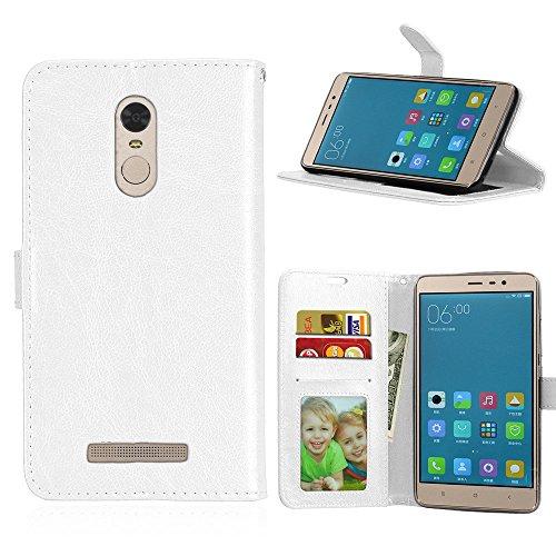 YYhin Cubierta Fútbol Cover para Funda Xiaomi Redmi Note 3/Hongmi Note 3 Pro - Caso Superior de la Cubierta Protectora Suave de la Piel del Cuero de la PU de la Manera Superior con(DK02/blanco