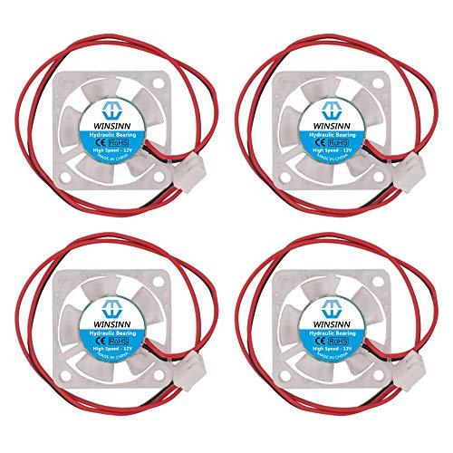WINSINN Ventilador LED de color de 30 mm, 12 V, rodamiento hidráulico sin escobillas 3010, 30 x 10 mm, alta velocidad (paquete de 4 unidades)