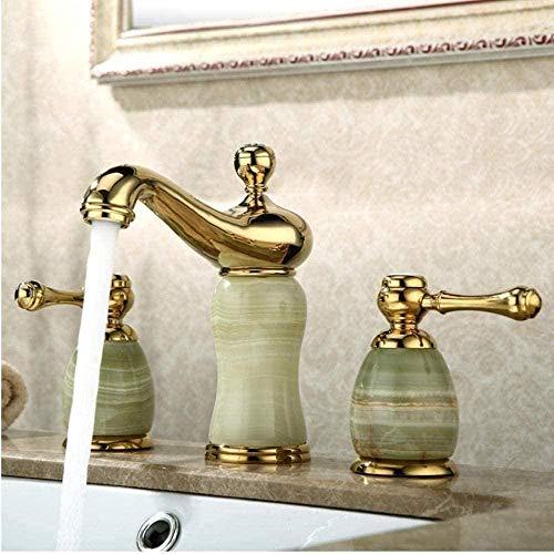 Grifo de lavabo suave grifo de latón jade dorado interruptor de agua fría y caliente doble manija baño ducha ducha grifo mezclador de tres orificios