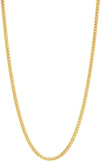"""18K Yellow Gold 2.0MM Franco Square Box Link Chain Necklace- 18K Gold- Available in 16""""-30"""""""