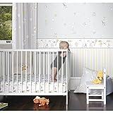 Tapete Kinderzimmer Disney Winnie the Pooh aus Papier waschbar grau gelb und weiß wp3021–3Disney Fantasy Deco Dandino.