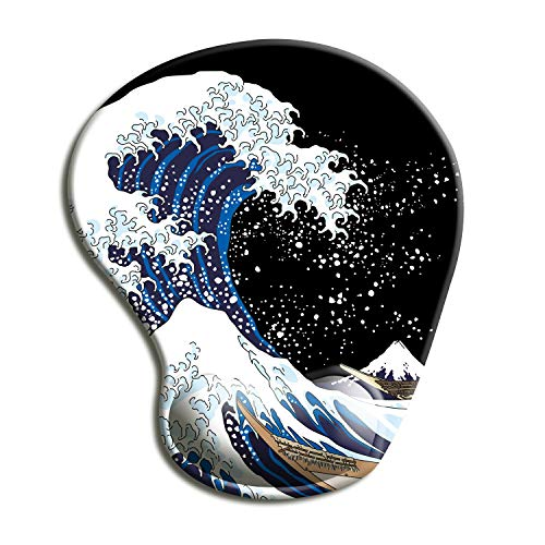 Dooke Ergonomic Mouse Pad with Wrist Support, Cute Mouse Pads with Non-Slip PU Base for Home Office Working Studying Easy Typing & Pain Relief Great Wave