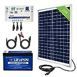 ECO-WORTHY 25W 12V Kit Completo de Panel Solar: Panel Solar de 25W + Batería de Litio de 8Ah + Controlador de 10A para Sistema Fuera de la Red/Puerta Automática/Bomba de Agua/Aparato de CC