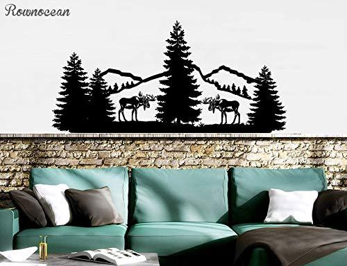 Sanzangtang boslandschap natuurlijke grenen muursticker vinyl wooncultuur woonkamer bergen dier eland sticker binnenwand