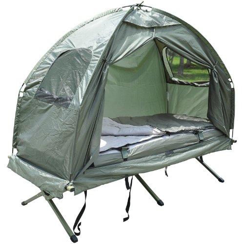 Outsunny Feldbett 4 in 1 Camping Set mit Zelt Schlafsack Matratze faltbar, Dunkelgrün, M