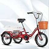 T-Day Triciclo para Adultos 16'Ciudad Ocio Bicicleta Single Speed Cesta De Bicicleta para Adultos Bicicleta De Crucero para Recreación Compras Ejercicio Bicicleta para Mujer(Color:Rojo)