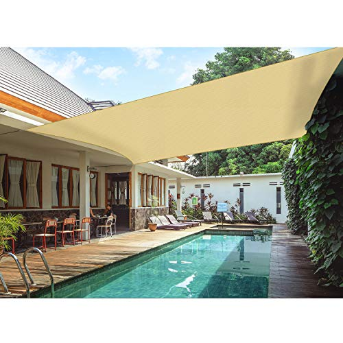 Amgo 16' x 16' Beige Square Sun Shade Sail Canopy Awning, 95% UV Blockage, Water & Air Permeable, Commercial and Residential, for Patio Yard Pergola, 5 Years Warranty (Available for Custom Sizes)