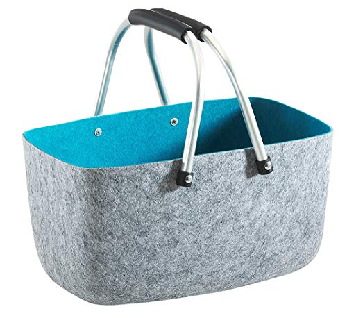 Kobolo Filzkorb Einkaufkorb Korb - Aluminium-Henkel - Filz - grau blau - 36x22x18 cm