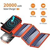 Solar Charger 20000mAh, Wireless Portable Power Bank with Dual 2.1A High-Speed Output Ports and 3 Foldable Solar Panels External Backup Battery Waterproof Solar Phone Charger for Outdoors