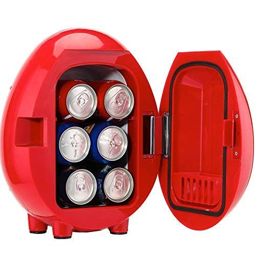 SMETA Electric Cooler and Warmer (4 Liter / 6 Can) Portable Cute Thermoelectric Mini Fridge- AC & DC Power Cords for Cars, Offices, Road Trips, and Dorms - Red