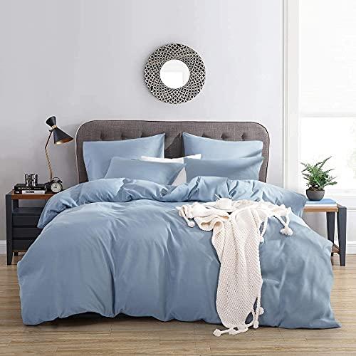 RUIKASI Funda nórdica para cama de matrimonio de 240 x 220 cm + 2 fundas de almohada de 50 x 80 cm de microfibra, funda de edredón transpirable de color liso con color Spa azul
