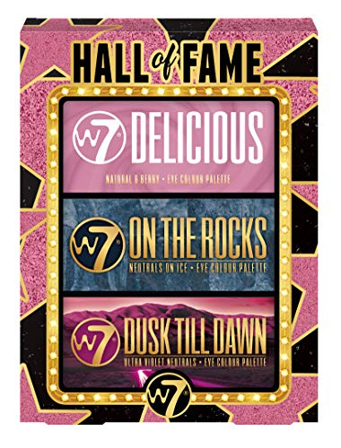 W7 | Hall of Fame Gift Set | 3 Piece Eyeshadow Gift Box | Delicious: Pinks, Berries, Natural Nudes | On The Rocks: Cool Tones, Golds, Blues, Greens | Dusk Till Dawn: Warm Tones, Purples, Browns