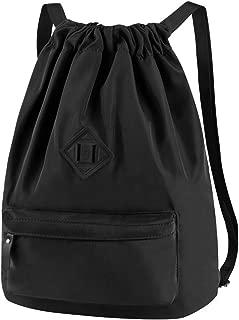 VBG VBIGER Waterproof Drawstring Backpack String Bag Sackpack Sport Gym Backpack Small Workout Bag Lightweight Sackpack Beach Bag Gymsack for Sport Gym Yoga Shopping for Men and Women (Black)