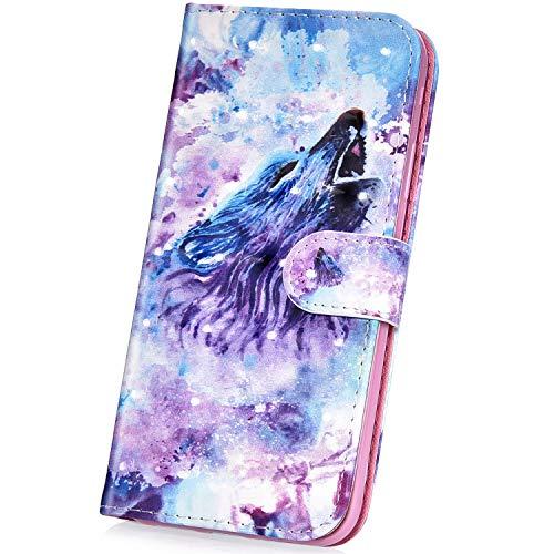 Surakey pour Coque iPhone Se,iPhone 5S étui à Rabat en Cuir, 3D Effet Paillette Imprimé Motif Etui Housse Cuir PU Portefeuille Folio Flip Case Cover Wallet Coque pour iPhone SE/5/5S (Loup)
