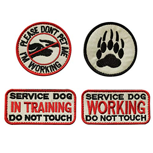TIMTAC 4 Pcs Reflective Service Dog in Training/Working/Please Don't Pet me & Dog Paw Embroidered Hook & Loop