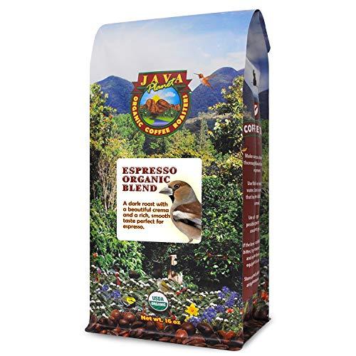 Java Planet, Organic Coffee Beans, Espresso Blend, Gourmet Dark Roast of Arabica Whole Bean Coffees, Certified Organic, Grown at High Altitude, 1LB bag