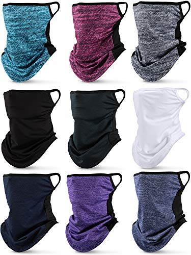 9 Pieces Face Bandana Neck Scarf Ear Loops UV Protection Neck Gaiter Balaclava (Stylish Color)