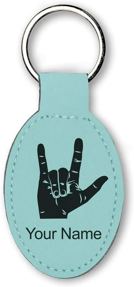 Oval Keychain, Sign Language I Love You, Personalized Engraving Included (Teal)