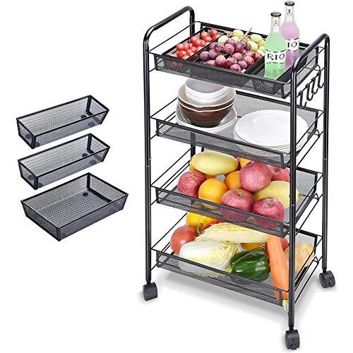 ZRXRY 4 Schichten aus praktischer Küchenwagen, Lagerwagen, mit 1 Mesh-Lagerschalen, praktischer Handwerkskorb, Küchenwagen eignet Sich für Küche, Schlafzimmer, Badezimmer,Schwarz