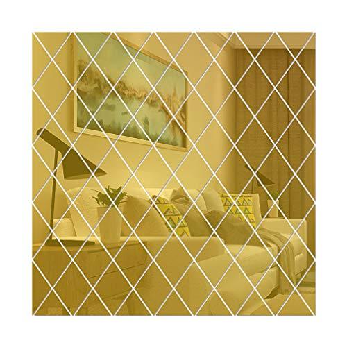 Yeliu Diamantdreiecke Wandkunst Acrylspiegel Wandaufkleber Hausdekoration 3D DIY Gold