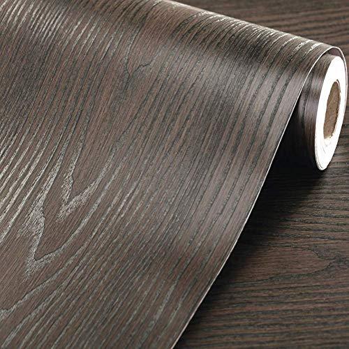 WDragon Papier peint décoratif adhésif en vinyle texturé épais Marron foncé 30 x 200 cm